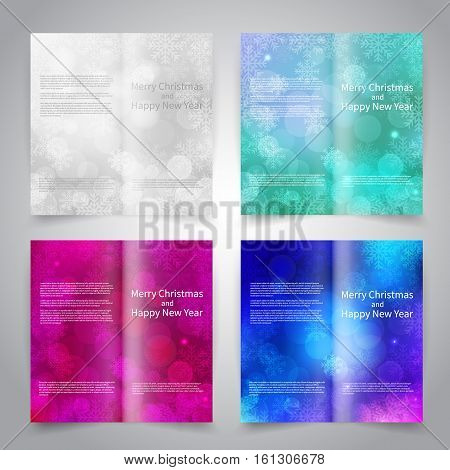 Brochure design templates set with abstract background with snowflakes and bokeh lights. White, blue, white colors. Merry Christmas and Happy New Year vector brochure mockup EPS10