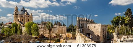 Panoramic view of Dormition Abbey from the wall of the Old City of Jerusalem Israel