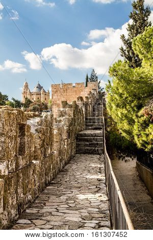 View of Dormition Abbey from the wall of the Old City of Jerusalem Israel