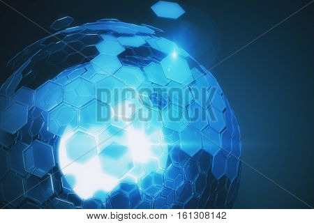 Abstract cellular blue sphere on dark background. Technology concept. 3D Rendering