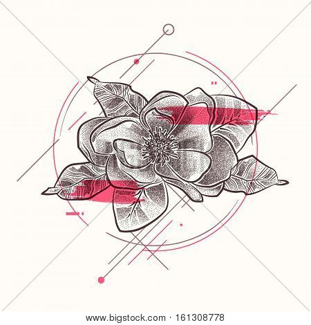 Dotted flower with leaves decorative ornate and red brush elements. Cute floral elements in dotwork. Contour style for tattoo design. Vector stock illustration
