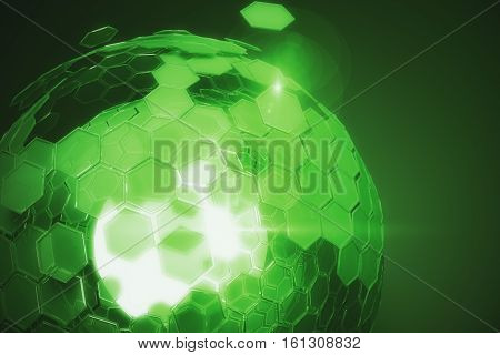 Abstract cellular green sphere on dark background. Technology concept. 3D Rendering