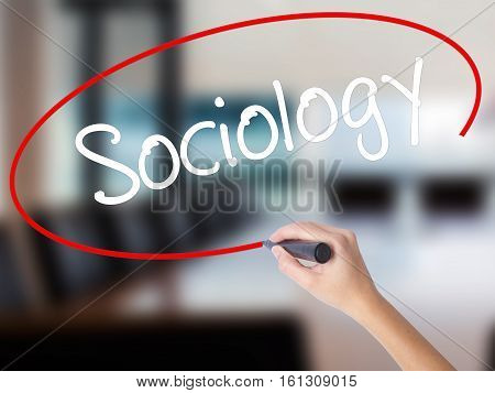 Woman Hand Writing Sociology  With A Marker Over Transparent Board