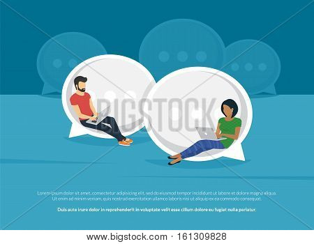 Chat talk concept illustration of young people using laptops for sending messages to each other via internet messenger. Flat guy and woman sitting on the big speech bubbles and typing messages
