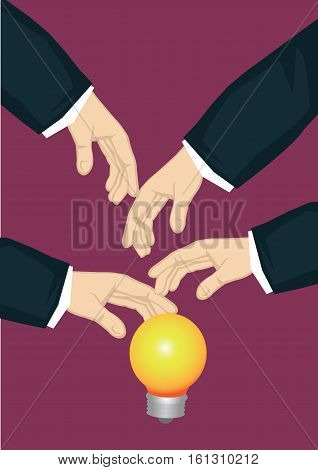 Many hands from the side reaching for illuminated light bulb symbol for business idea. Creative vector cartoon business illustration on metaphor for popular business idea concept.