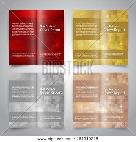 Brochure design templates set with abstract geometric background. Red, gold, bronze, silver colors. Christmas vector brochure mockup EPS10