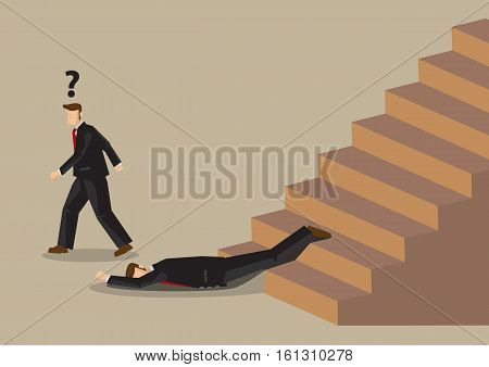 Cartoon business professional falls down on stairs. Vector illustration on hidden dangers in workplace and office safety concept.