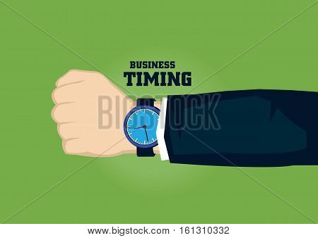 Analog watch on wrist of business person with text business and timing. Vector illustration on time concept for business isolated on green background.