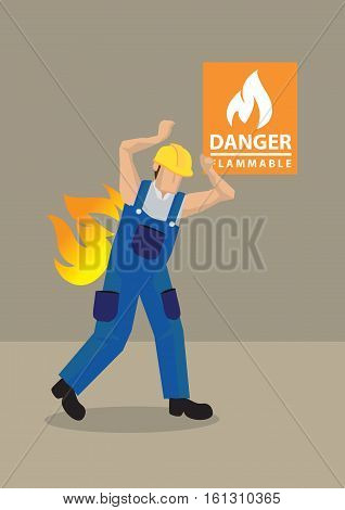 Cartoon vector illustration of worker in blue overall and yellow helmet caught in fire accident at workplace with Danger Flammable warning sign in background. Concept for workplace safety.
