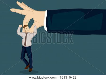Giant hand picking a cartoon businessman with thumb and index finger. Vector illustration on picking on someone at workplace metaphor isolated on plain background.