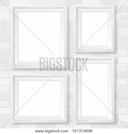 Frames Wall Gallery Mockup White Brick Wall 2