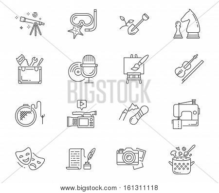 Hobbies set of vector icons modern line style