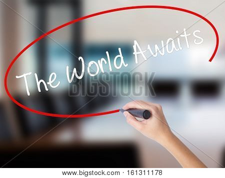 Woman Hand Writing The World Awaits With A Marker Over Transparent Board