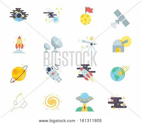 Space set of vector icons modern flat style