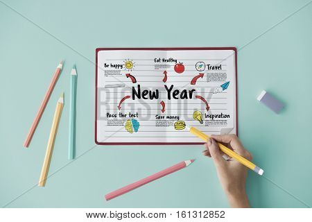 New Year Plan Goals Concept