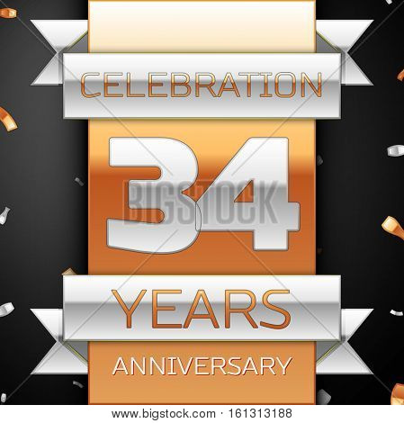 Thirty four years anniversary celebration golden and silver background. Anniversary ribbon