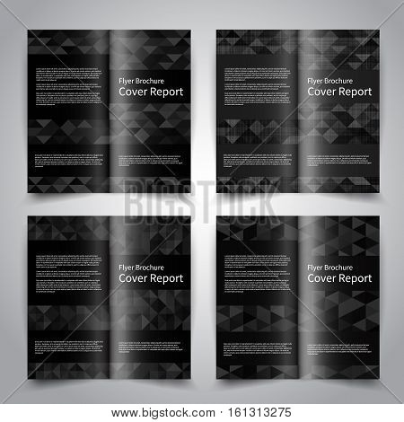 Brochure design templates set with abstract black geometric background with triangles. Vector brochure mockup EPS10