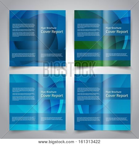 Brochure design templates set with abstract geometric background. Blue colors. Vector brochure mockup EPS10