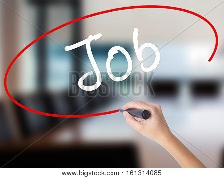 Woman Hand Writing Job With Marker On Transparent Wipe Board