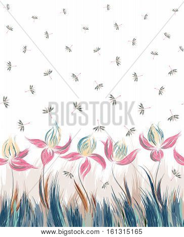 Vertical Floral seamless pattern of irises and dandelion seeds. Creative execution of floral ornament. Blue pink flowers on a white background. Cute print for bedding, clothes, dress etc