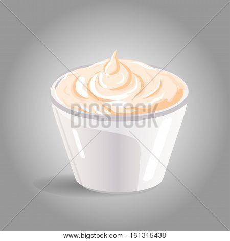 Vector abstract logo ceramic dip bowl, filled mayonnaise. EPS