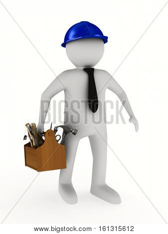 Man with wooden toolbox. Isolated 3D image