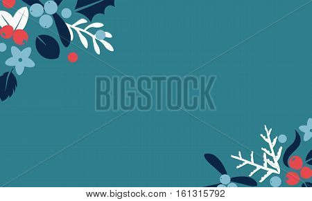 Vintage Merry Christmas And Happy New Year background. Berries sprigs and leaves stylish vector frame illustration on winter greeting card. Good for cards posters and banner design