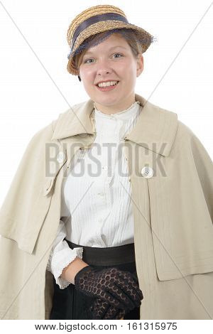 young smiling woman in vintage costume 1900s isolated on white background
