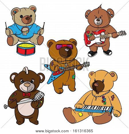 Set Vector Clip Art Illustrations Of Teddy Bears Stock