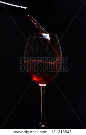 Glass With Red Wine Drops