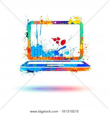 Laptop icon. Vector watercolor rainbow splash paint