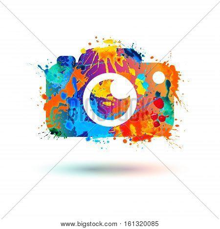 Photo camera icon. Vector watercolor splash illustration