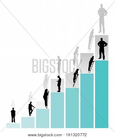 Graph of success. People are moving up the career ladder. Vector illustration