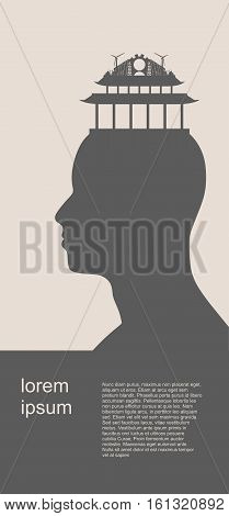 Head with factory for brain. Vector illustration. Energy and Power icons on the pagoda roof. Sustainable energy generation and heavy industry. Vector illustration. Field for text
