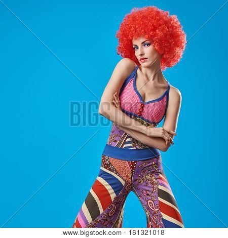 Fashion Model woman, Stylish hairstyle. Fashion Makeup. Sexy model girl, Stylish summer Hipster Outfit. Playful Cheeky girl. Fashion pose. Trendy Glamour lady. Afro hairstyle. Party Disco Creative