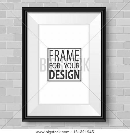 Photoframe mock up. Vertical frame on brick wall. Vector template ready for presentation design. Black framing for drawing painting or photo.