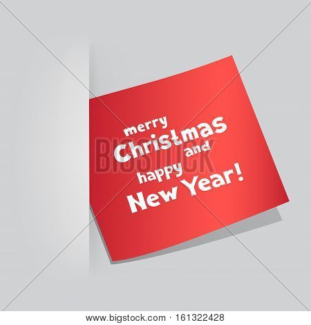 The colored red piece of paper with the message of Christmas greetings on gray pocket