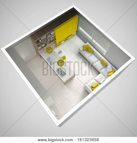 Minimalistic White Kitchen, With Wooden And Yellow Details, Minimal Interior Design, Cross Section,