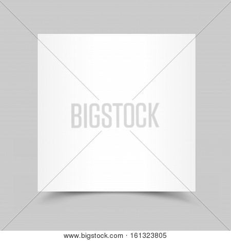 Piece of white paper for note, message, drawing with the shadow bottom on gray background.