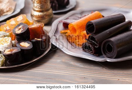 Various types of dry fruit leather close up