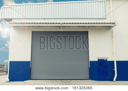An industrial design for shutter door Warehouse shutter door Entrance of storage warehouse.