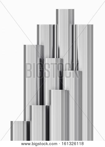 Steel tubes strack. Isolated on white background. 3D illustration