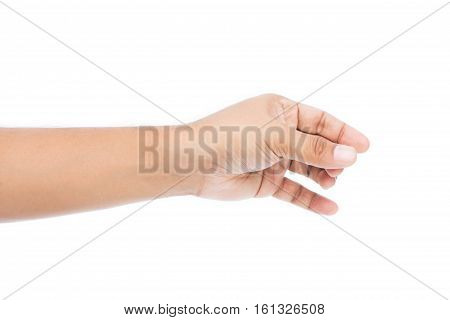 Well shaped male hand reaching for something isolated on white