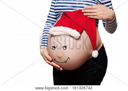 Pregnant Woman. Baby Bump with Santa Hat Isolated on White