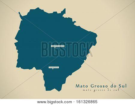 Modern Map - Mato Grosso Do Sul Br Brazil Illustration