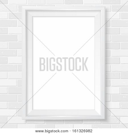Photoframe Vertical Realistic Mock Up On Brick Wall White