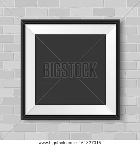 Picture Frame Black On The Wall Square Realistic Vector Grey