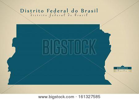Modern Map - Distrito Federal Do Brasil Br Brazil Illustration