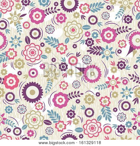 Seamless Pattern with flowers and leafs. Ideal for printing onto fabric and paper or scrap booking vector