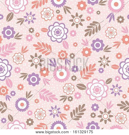 Seamless Pattern with flowers and leafs. Ideal for printing onto fabric and paper or scrap booking